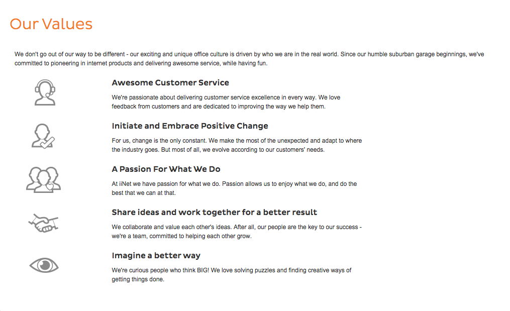 iiNet Core Values